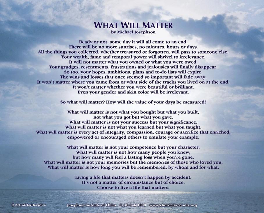 what will matter by michael josephson moonshadow